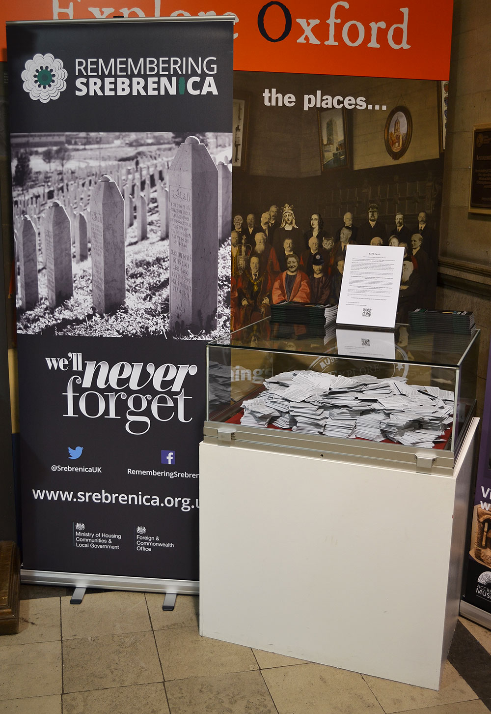 8372 Cards Exhibited in Oxford Town Hall for Srebrenica Memorial Week