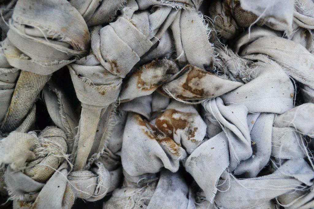 Lie Down Detail - Textile Artwork exploring the Bosnian War